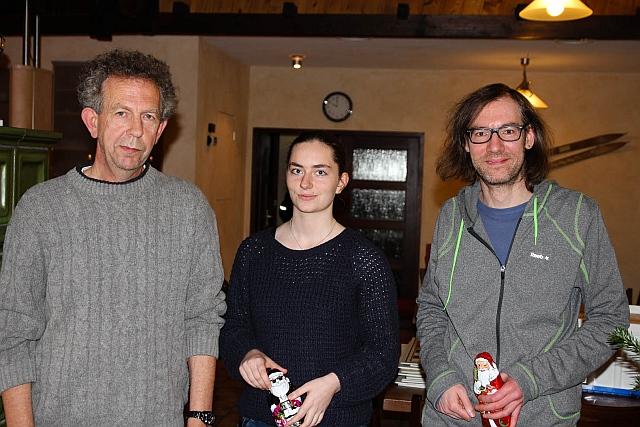 Die Sieger des Blitzturniers 2014: Nikolaus Keilmann (Platz 3), Franzi Froehlich (2) und Karsten Schuh (1).
