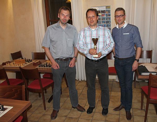 Die Sieger des Pokalturniers 2015: Philippe Leick (2), Andreas Ryba (1) und Erik Reder (3).